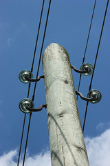 230V / 400 V Power Pole (betadecay2000) Tags: germany deutschland power pole pylon powerline mast powerpole strom glas volt voltage insulators keramik isolator insulator elektrizität strommast stromleitung masten lowvoltage 400v isolatoren 230v freileitung maste prozellan