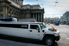 A limousine for wedding in front of Kazan Cathedral, Saint Petersburg, Russia (inchiki tour) Tags: road travel wedding building church car photo europe cathedral russia arcade decoration limo historical column archutecture saintpetersburg russian orthodox  limousine leningrad worldheritage kazan 2014         colonnaded      kazanzkaya