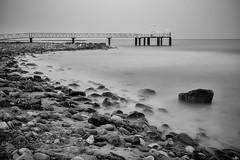 The Pier (NessSlipknot) Tags: espaa spain europa europe comunidadvalenciana castelln chilches xilxes playa beach rocas muelle largaexposicin longexposure mar sea marmediterrneo blancoynegro blackandwhite water nd ndx1000 haidandx1000 vanguard sony sal2470z2 slta99