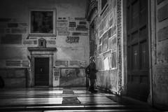 Contemplation (krystinemoessner) Tags: bw bn sw nb monochrome personne rome italie glise lumire krystine moessner flickrunitedaward reflectyourworld taek architecture black white internationalflickrawards