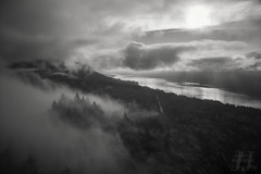 Gorgeous Gorge (Joshua Johnston Photography) Tags: pacificnorthwest pnw washington columbiarivergorge joshuajohnston canon6d blackandwhite bnw clouds trees capehorn