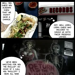 Eating tacos drinking a cokacola and taking on all vinyl anthonymorbid (stanbstanb) Tags: lomics comics anthonymorbid cokacola tacos vinyl