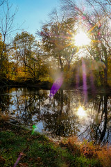 Flare Flair (Bruce Livingston) Tags: autumn autumncolors fall asbury hunterdoncounty flare musconetcong musconetcongriver reflections