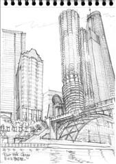 Chicago, River Walk (Croctoo) Tags: croctoo croquis croctoofr crayon chicago skyscraper gratteciel ville sketch