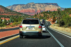 Arizona State Road 179 (Albert Jafar) Tags: sedonasredrocks sedona arizona road rocks vehicles outdoor travel hill bluesky highway arizonastateroad179 redrockscenicbyway photographerswharf ngc