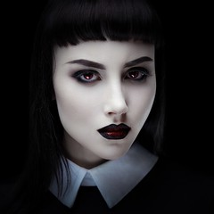 Halloween mood (n_lev44) Tags: ifttt 500px young adult attractive beautiful beauty black closeup cosmetics creepy elegance girl gothic halloween lady makeup model mysterious pale skin portrait serious sexy studio style woman