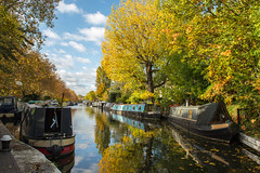 A beautiful autumn day in London (Koupal D) Tags: reflections narrowboat trees water london londres londra londoncanals nikond610 nikkor uk autumn grandunioncanal photography warwickave littlevenice boat urban clouds     nikon2470mmf28 nikon manfrotto treppiede tripod
