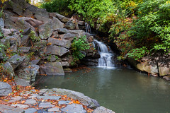 Cascading Waterfall in Central Park (Ben-ah) Tags: waterfall centralpark manhattan newyork ny nyc fall foliage leaves autumn northwoods ravine manmadewaterfall pond loch