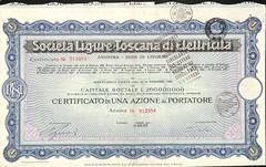LIGURE-TOSCANA DI ELETTRICITA' SOC. (scripofilia) Tags: 1932 azioni elettricit ligure liguretoscana toscana