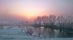 A frosty sunrise (Nils van Rooijen) Tags: ooijpolder november winter landscape nijmegen sunrise morning mist ice frosty reflection gelderland dawn