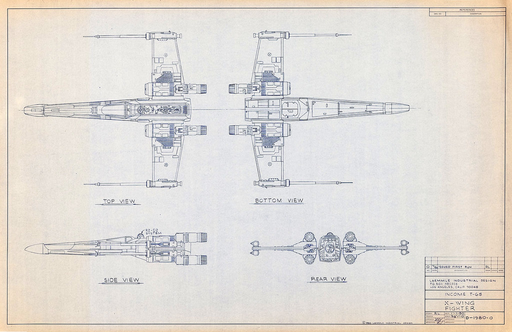 The worlds best photos of vintage and xwing flickr hive mind 1980 x wing blueprint tom simpson tags xwing blueprint vintage illustration art malvernweather Image collections