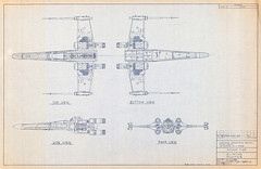 1980 X-Wing blueprint (Tom Simpson) Tags: xwing blueprint vintage illustration art 1980 1980s film theempirestrikesback starwars empirestrikesback plans movie
