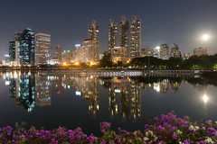 Bangkok and Moonrising (baddoguy) Tags: bangkok benjakitti building business center city cityscape convention dark district flower foreground garden light moon moonrise night outdoor park pink public queen reflection scene scenery sirikit skyline supermoon thailand tranquil twilight urban