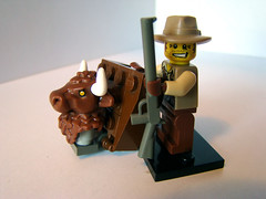 Proud hunter (KadasBence) Tags: new fun toy toys cool interesting buffalo gun lego good badass great creative bad mini best special creation figure trophy hunter decal custom figures exciting minotaur creations moc poacher minifigures