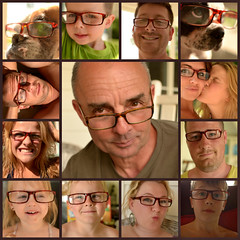 just like our Papa (Bridgette Peck) Tags: boy summer vacation water girl smile collage square point fun glasses weird crazy vermont child balloon laugh papa goof wacko