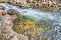 Entering the Pool (MaugiArt) Tags: white water rock creek grey movement smooth flowing liquid