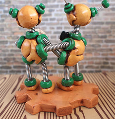 Commission: Robot Wedding Cake Topper: Rustic Gold and Green (HerArtSheLoves) Tags: wedding brown green cake gold golden robot mixed wire media handmade ooak rustic gear clay custom commission cog topper geeky nerdy shabby polymer holdingeachother