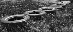 Tires (nicpic) Tags: school blackandwhite playground tire tires diagonal perkins perkinsschoolfortheblind
