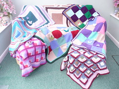 Linda made and donated 8 Blankets for SIBOL. Thank you so much! (MRS TWINS/SIBOL 'Sunshine International Blankets) Tags: squares elderly blankets crocheted sibol