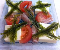 Edible Christmas Tree ? (MIREILLE) Tags: christmas sea food seaweed tree japan angel tomato island salad tofu sausage thai twig  okinawa    ingredient