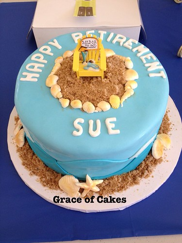 Beach themed retirement cake