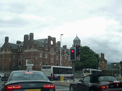 greatbritain england trafficlights bus buses unitedkingdom first hampshire portsmouth audi barracks admiralty pompey bmwz4 hants portseaisland gradeiilisted gradeiilistedbuilding hmsnelson officersquartersandmess thewardroom alfredrd sirhenrypilkington redbrickinenglishbondwithrusticatedbasement alfredrdportsmouth