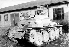 Another modification, or reconnaissance tank in which instead of the original tower light installed, open turret of the armored car SdKfz 222