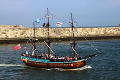 Whitby on Yorkshire Day (3) (nican45) Tags: sea slr canon pier boat harbour flag jetty yorkshire whitby dslr tamron northyorkshire sailingboat 600d 18270 18270mm eos600d 18270mmf3563diiivcpzd
