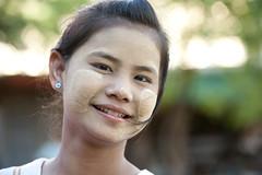 MM004 Myanmarese girl (VesperTokyo) Tags: girl smiling child burma myanmar burmese pagan bagan thanaka piercedearrings thanakha nikond3 myanmarese