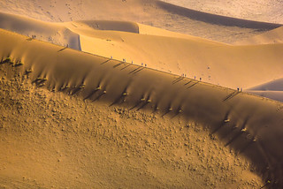 Walking up the dune