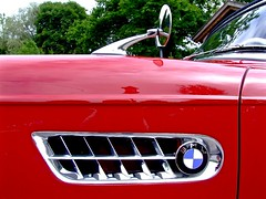 BMW 507 (zebulon.walton) Tags: red vent mirror profile rearviewmirror grill bmw grille rearview windshield sportscar redcar sidevent sidegrille