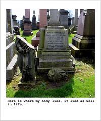 136 (Squidge Scicluna) Tags: light sun broken cemetery grave graveyard angel polaroid glasgow lies tomb tombstone fallen liar necropolis