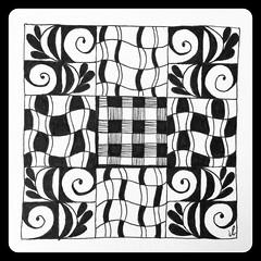 Zentangle (ilienne) Tags: blackandwhite art tile handmade zentangle wwwzentanglezooblogspotnl