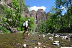 One of many crossings of the Gila River. Always hiking with wet feet.