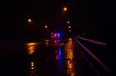 Late Night Emergency (karmakerosene) Tags: road street urban rain night 35mm dark lights nikon sidewalk nighttime rainy ambulence d7000 nikond7000