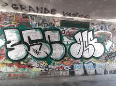 087 (en-ri) Tags: muro verde wall writing graffiti bianco nero throwup 356 ase novara shvin