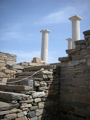 Delos greece (GuyDeckerStudio) Tags: ancient greece greek delos city state island sea ocean limestonemarble stone status linon god gods hills temple ruins column zeus red mosaic floor flower poppy stair