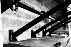 open studio (airport92) Tags: blanc monochrome poutre noiretblanc pont chaussures shoes bridge mattless matelas cadenas padlocks bw