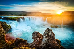 Iceland, Godafoss at sunset, beautiful waterfall, long exposure (derrickbrutel) Tags: iceland waterfall godafoss landscape icelandic myvatn water beautiful nature summer white natural majestic motion power river landmark cascade blue spray powerful sunset beauty color sky dramatic spring outdoors horizontal stone wide glacier rock flow stream midnight romantic long exposure wilderness flowing sunburst longexposure amazing