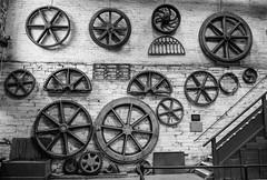 National Slate Museum (alancookson) Tags: fujixt1210916 nationalslatemuseum llanberis cogs gears wheels bw slate