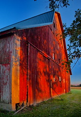 LAST SHADOWS OF THE DAY (nelhiebelv) Tags: barn red 3story eatoncounty shadows sunset