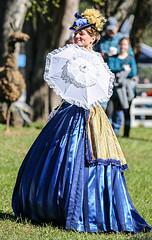 Southern Miss (wyojones) Tags: texas hempstead liendoplantation civilwar reenactment civilwarweekend southern texan southernbelle hat woman girl beauty beautiful lovely cute pretty smile gloves hoopskirt hair parasol