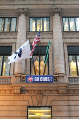Go Cubs! (Flint Foto Factory) Tags: chicago illinois urban city autumn fall october 2016 downtown loop evening pm rushhour northerntrust building monroe lasalle intersection corner worldseries baseball chicagocubs cubs gocubs american flag sign signage beautiful architecture sports