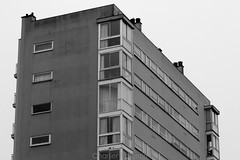 Architectural Sky 3 (charlier.valentin) Tags: charlier charliervalentin rennes bretagne brittany bw blackwhite nb noirblanc contraste ciel sky building btiment architecture immeuble rooftop toit geometric gomtrique