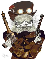 Wild West Bird Ranger with Mushroom Hat  (Felis Simha) Tags: steampunk steampunkart steam bird birds birdlover feather feathers fly flying gun guns hat fedora mushroom mushrooms fungi toadstool toadstools goggles gogglesflight armor weapon weapons cowboy ranger patrol leather leatherjacket belt animal animals animalportrait animalportraits furry nature wild wilderness wildlife cute adorable alien aliens hero travel timetravel timetraveler fantasy surreal vintage reto anthropomorphic anthropomorphism scifi brown adventure adventurer unique