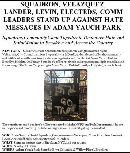 So our playground was vandalized with swastikas and pro-Trump messages. Tomorrow 11:30am Adam Yauch (yes that Adam Yauch) Park. Brooklyn. #beastieboys #adamyauchpark #adamyauch this is bullshit