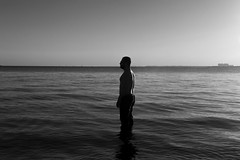 The Standing Man (snarasiwodeyar) Tags: water ocean mortality bw man placid existence struggle life miami biscayne