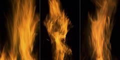 Bonfire Night (milfodd) Tags: november 2016 november5th bonfire fire flames triptych