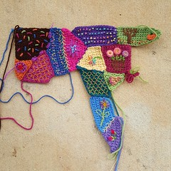 The crochet crazy quilt center panel in need of more decorative embroidery (crochetbug13) Tags: crochet crocheted crocheting embroidery embroider yarn featherstitch herringbone