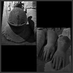 4 - Bayeux, Muse d'Art et d'Histoire Baron Grard - MAHB, Pierre Lafaye - Gisant du seigneur de Ryes - 17me sicle - Dtail (melina1965) Tags: normandie calvados bayeux octobre october 2016 nikon d80 mosaque mosaques mosaic mosaics collages collage noiretblanc blackandwhite bw sculpture sculptures grave tombe tombes graves